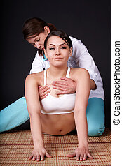 Girl having thai massage.