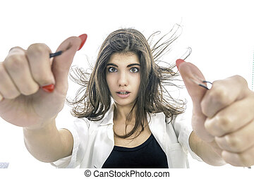 Girl having?Electric Shock,?electricity?problems, Girl?holds bare wires