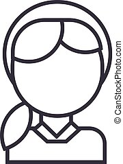 girl head vector line icon, sign, illustration on background, editable strokes