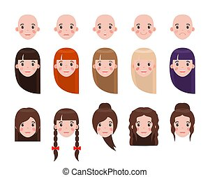 Girl Head with Hairstyles and Emotional Faces Set