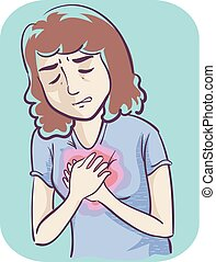 Illustration of a Girl Holding Her Heart In Pain Experiencing Heartburn