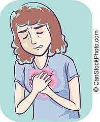 Girl Heartburn Illustration - Illustration of a Girl Holding...