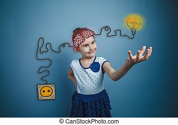 girl held out her hand forward smiling charging cord plug wire igniter charge and sketch infographics