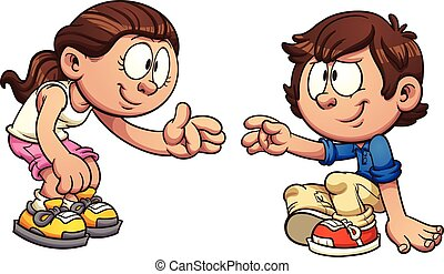 Girl helping boy - Cartoon girl helping a boy get up. Vector...
