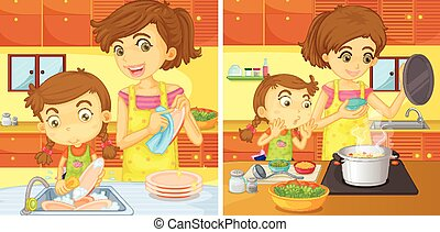 Girl helping mom in the kitchen