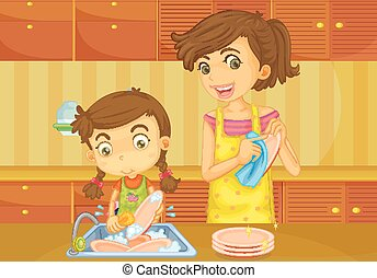 Girl helping mother doing dishes illustration