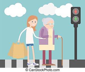 Girl helping old woman