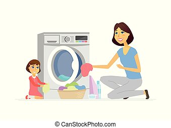 Girl helps mother with washing - cartoon people characters isolated illustration