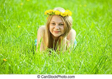 girl, herbe, pré