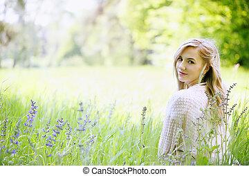 girl, herbe, séance