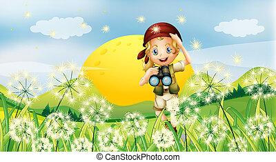 girl, herbe, télescope, tenue