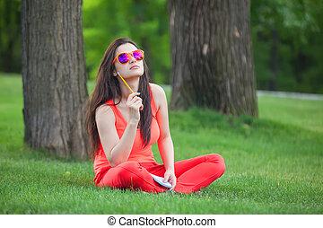 girl, herbe, vert, cahier, brunettee, park.