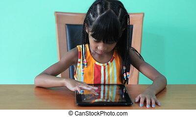 girl, heureux, asiatique, tablette, numérique