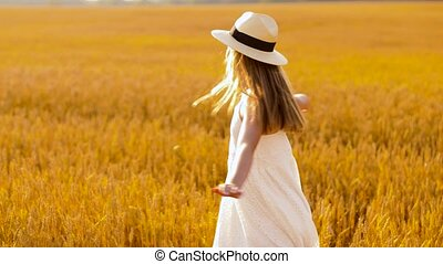 girl, heureux, chapeau été, champ, paille, céréale