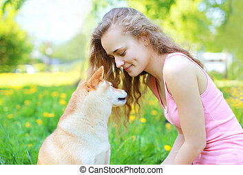 girl, heureux, ensoleillé, chien, jour