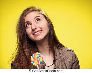 girl, heureux, jeune, jaune, sucette