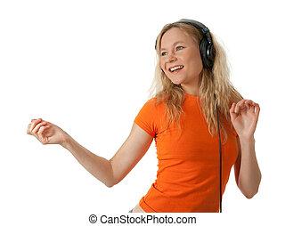 girl, heureux, musique écouter, danse