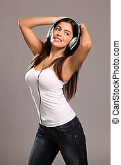 girl, heureux, musique, jeune, danse