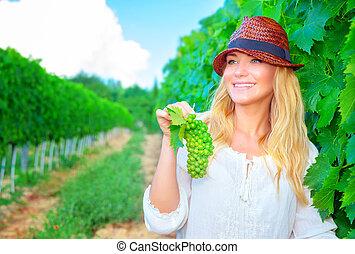 girl, heureux, paysan