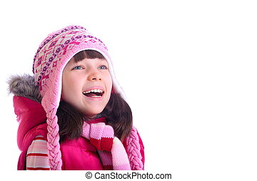 girl, heureux, porter, chaud, chapeau