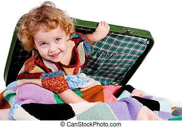 girl hidden in a suitcase