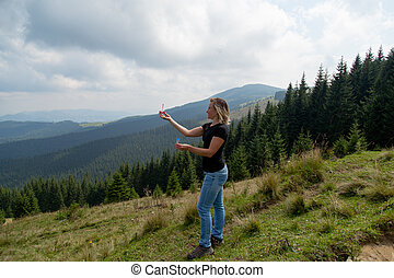 girl high in the mountains