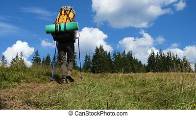 girl hiker with the backpack on a grass hill