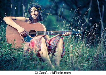 girl, hippy