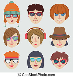 girl, hipster, faces