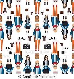Girl hipster flat style seamless pattern
