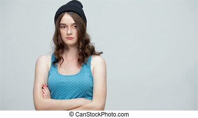Girl hipster in the cap