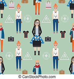 Girl hipster seamless pattern