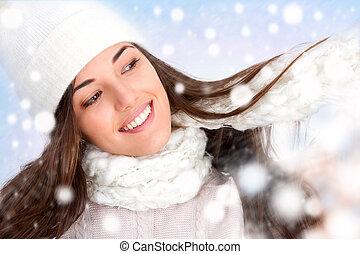 girl, hiver, flocons neige
