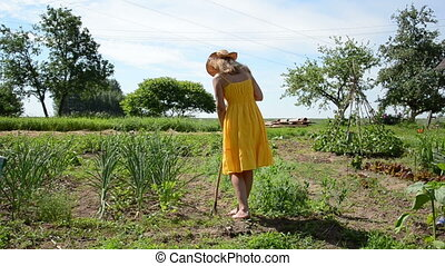 girl hoe work garden