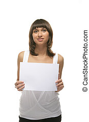 Girl hold a sheet of paper
