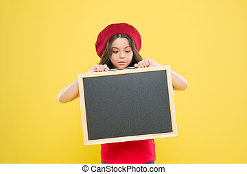 Girl hold blank blackboard chalkboard. Advertising copy space. Back to school concept. Happy hours. Good news. School information. Informing you. Child promo information board. Place for information