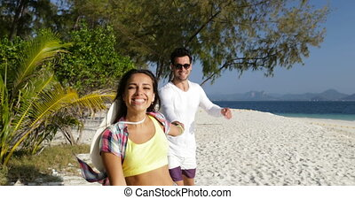 Girl Hold Man Hand, Couple Running On Beach, Happy Smiling Tourists On Sea Vacation