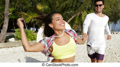 Girl Hold Man Hand, Running On Beach, Happy Smiling Tourists...