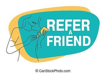Refer a friend - referral program creative banner - cute young girl in thin outline shape hold phone and referring her friends (people icons, avatars) - vector illustration