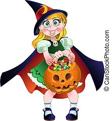 girl hold pumpkin with candys