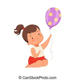 Girl holding a balloon. Vector illustration on a white background.