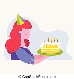 Girl holding a Birthday cake