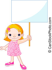 Girl holding a blank sign for your - Cute girl holding a...