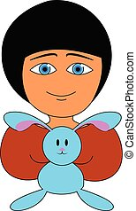 Girl holding a blue bunny looks cute vector or color illustration