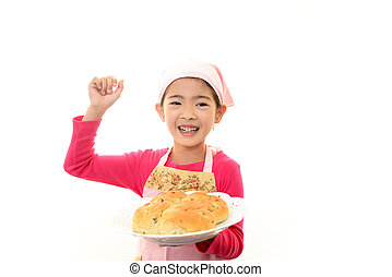 Girl holding a bread