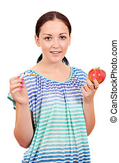 girl holding a broken cigarette and apple