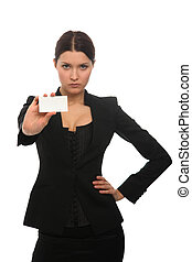 girl holding a business card