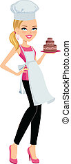 Girl holding a cake - Girl standing wearing a chef hat and...