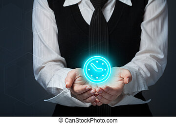 girl holding a clock icon. Save your time