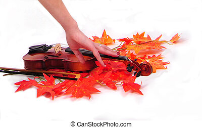 girl holding a hand on the violin